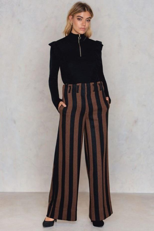 брюки женские модные тенденции: широкие в полоску