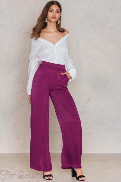 брюки женские 2019: с завышенной талией фиолетовые