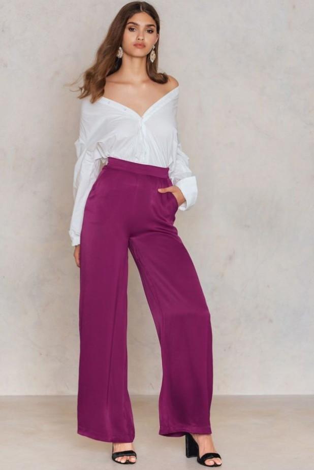 брюки женские: с завышенной талией фиолетовые
