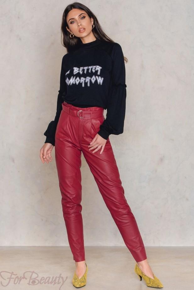 Брюки кожаные красные женские 2018 года модные тенденции