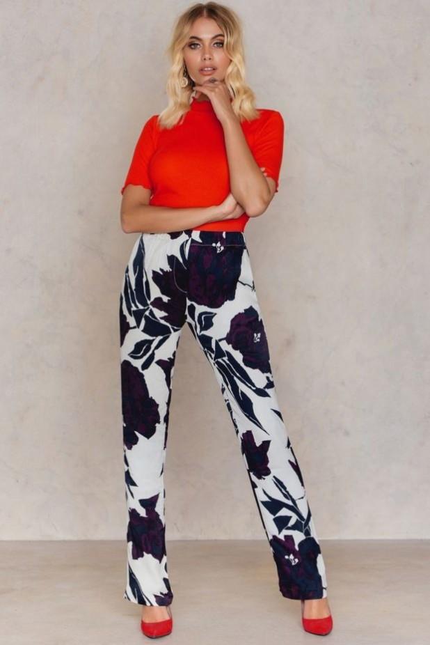 брюки женские: с принтом цветок