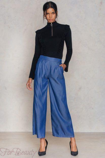 брюки женские 2019 года: голубые широкие