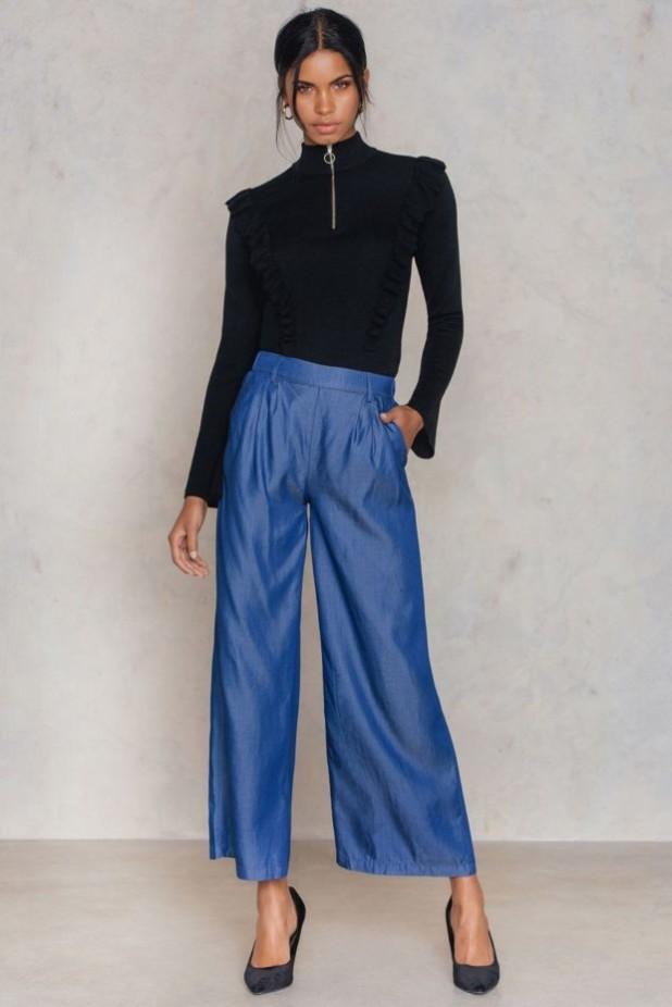 брюки женские 2018-2019 года: голубые широкие