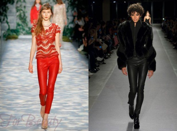 Брюки стильные кожаные женские 2018 года модные тенденции