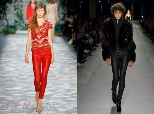 брюки женские: стильные кожаные