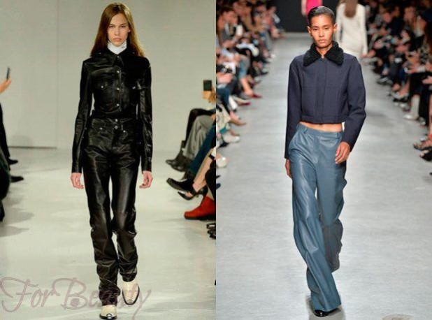 брюки женские: кожаные черные синие