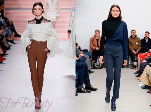 брюки женские 2018-2019 года: узкие коричневые синие