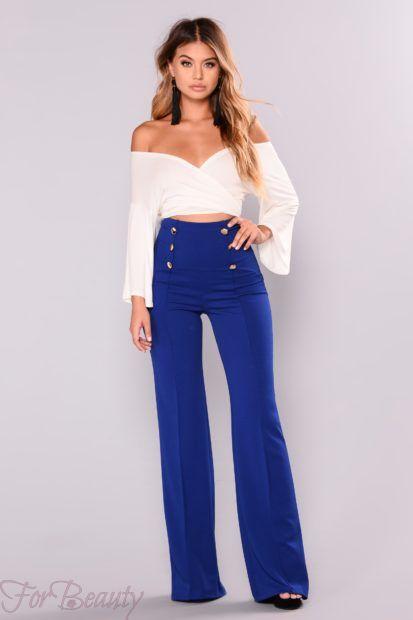 брюки женские 2019: синие с завышенной талией