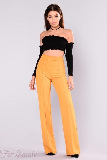 брюки женские 2019: желтые с завышенной талией