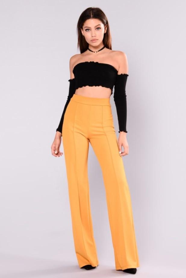 брюки женские: желтые с завышенной талией