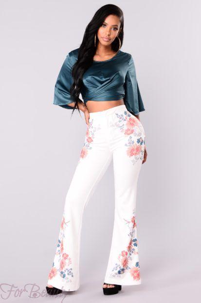брюки женские 2018: с принтом цветы
