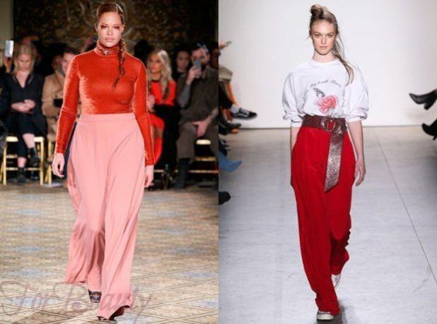 брюки женские модные тенденции: красивые широкие