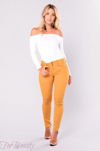 брюки женские 2019 года: узкие желтые