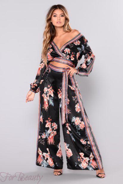 брюки женские 2018: модные с принтом цветы