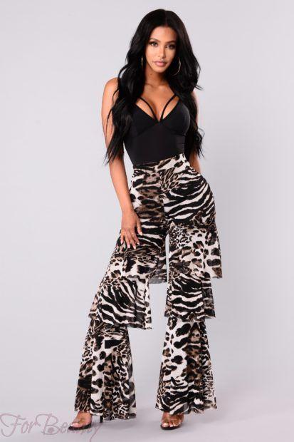 брюки женские 2018: с тигровым принтом