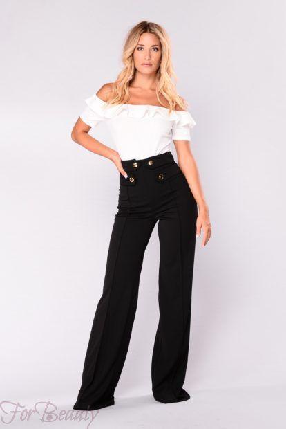 брюки женские 2019: с завышенной талией черные