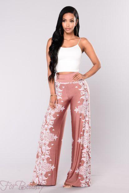 брюки женские 2018: нежные с принтом узорами