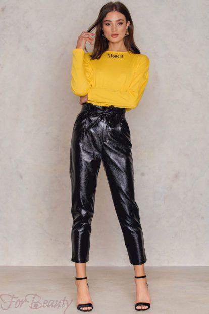 брюки женские 2019 года модные тенденции фото: кожаные черные