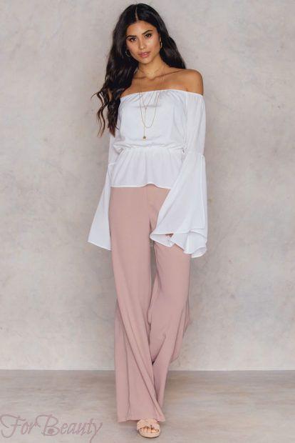 брюки женские 2019 года модные тенденции фото: широкие розовые