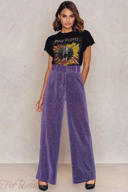 брюки женские 2019 года модные тенденции фото: широкие сиреневые