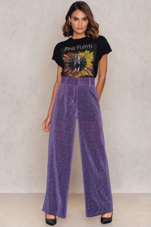 брюки женские модные тенденции: широкие сиреневые