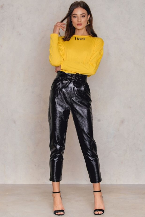 брюки женские модные тенденции фото: кожаные черные