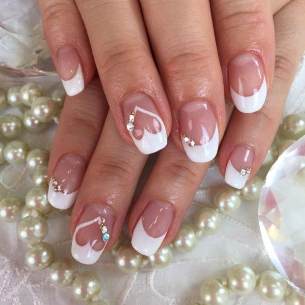 свадебный френч на ногтях фото 2018-2019