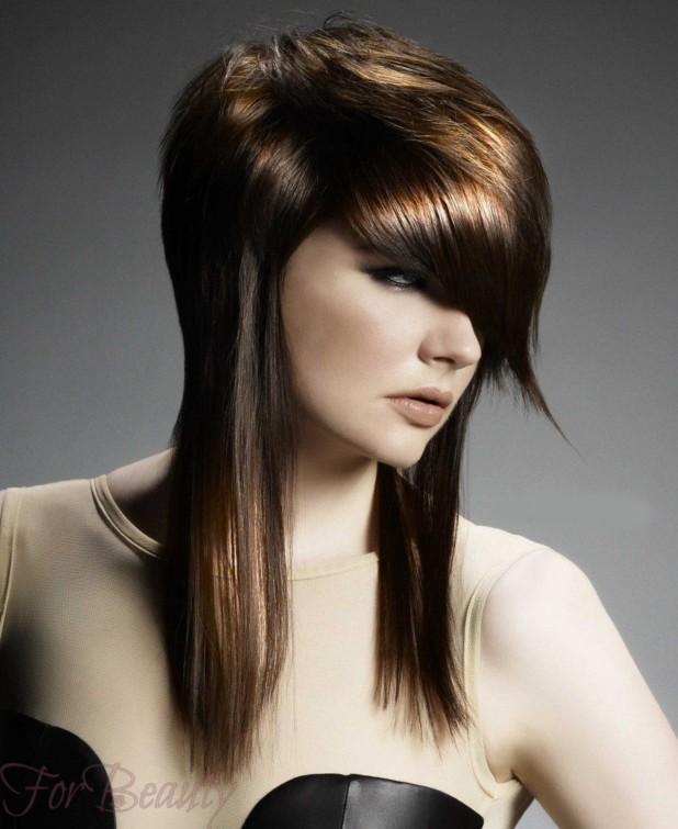 Стрижка асимметричная фото на средние волосы