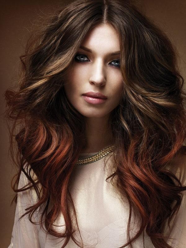 Модное цветное окрашивание волосбалаяж2018 фото
