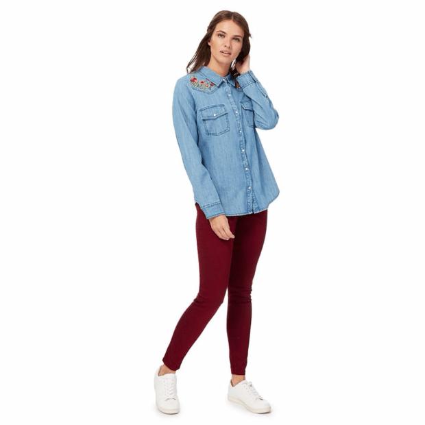 Модные джинсы скинни узкие красные