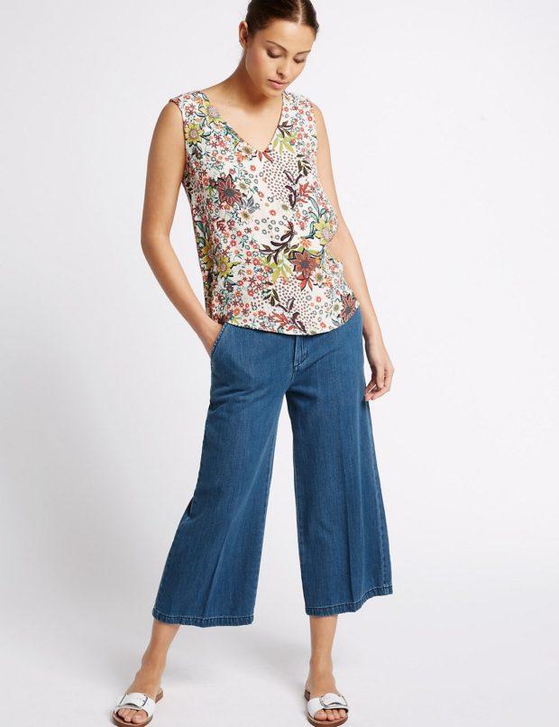 женские джинсы: клеш укороченные