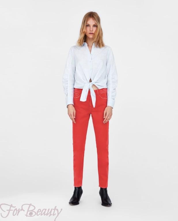 Модные красные джинсы 2018 женские