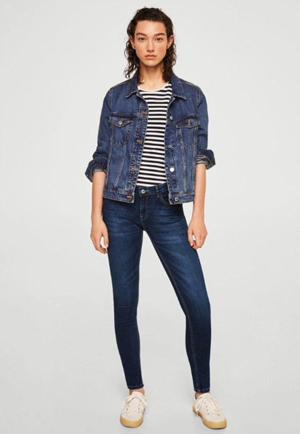 синие джинсы скинни