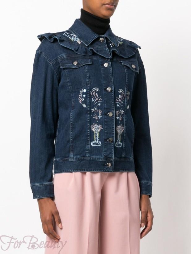 Модные женские джинсовые куртки осень-зима 2018 2019 с вышивкой
