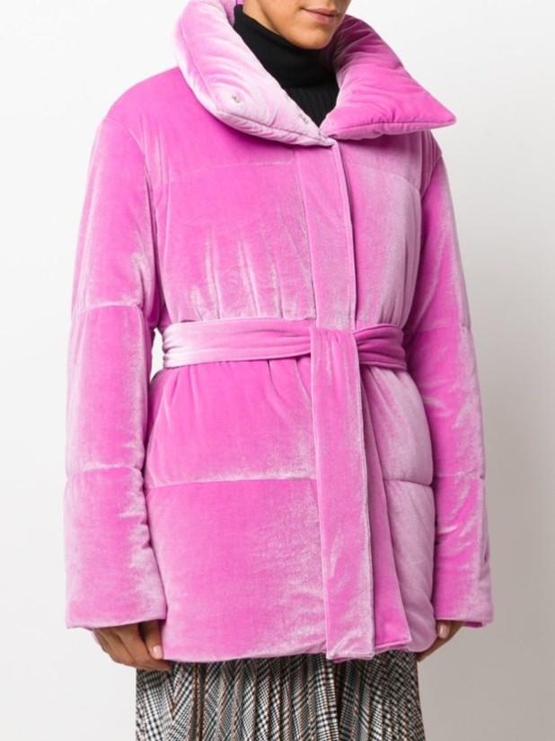 Модные велюровые женские стеганые куртки с капюшоном осень-зима 2018 2019