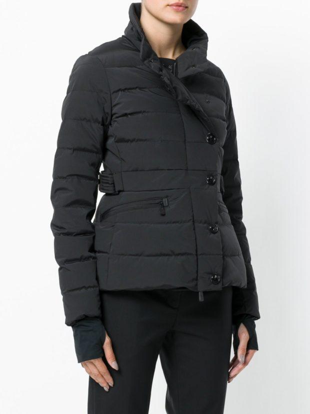 Модные женские пуховики: черный косуха на зиму