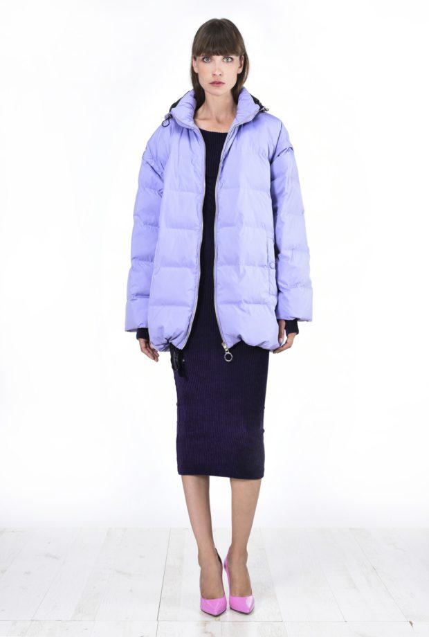 Модные женские пуховики зима 2019-2020: фиолетовый