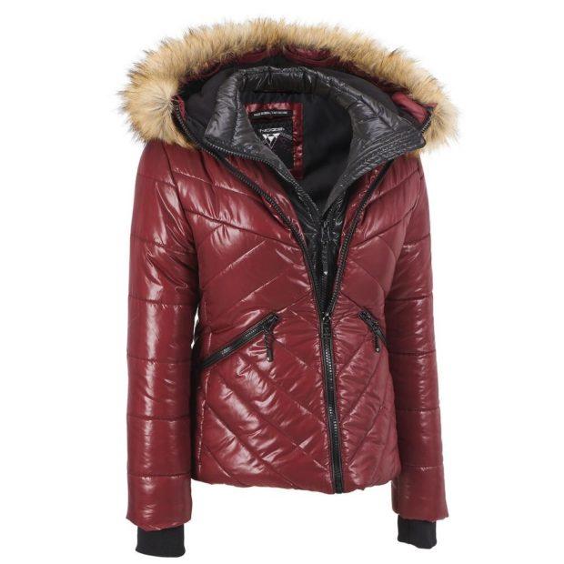 Модные женские пуховики зима 2019-2020: короткий кожаный бордо