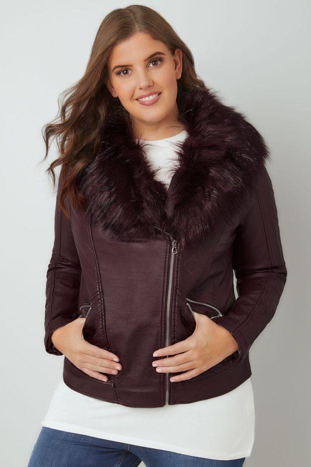Модные женские пуховики: кожаный косуха на зиму