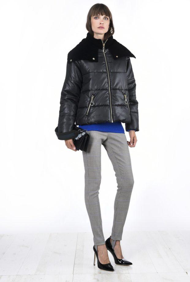 Модные женские пуховики зима 2019-2020: черный с воротником