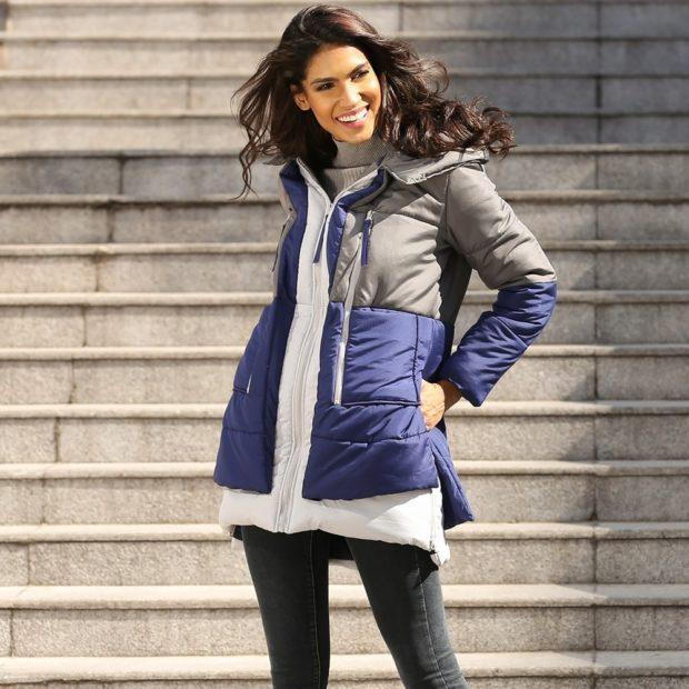Модные женские пуховики зима 2019-2020: синий с серым