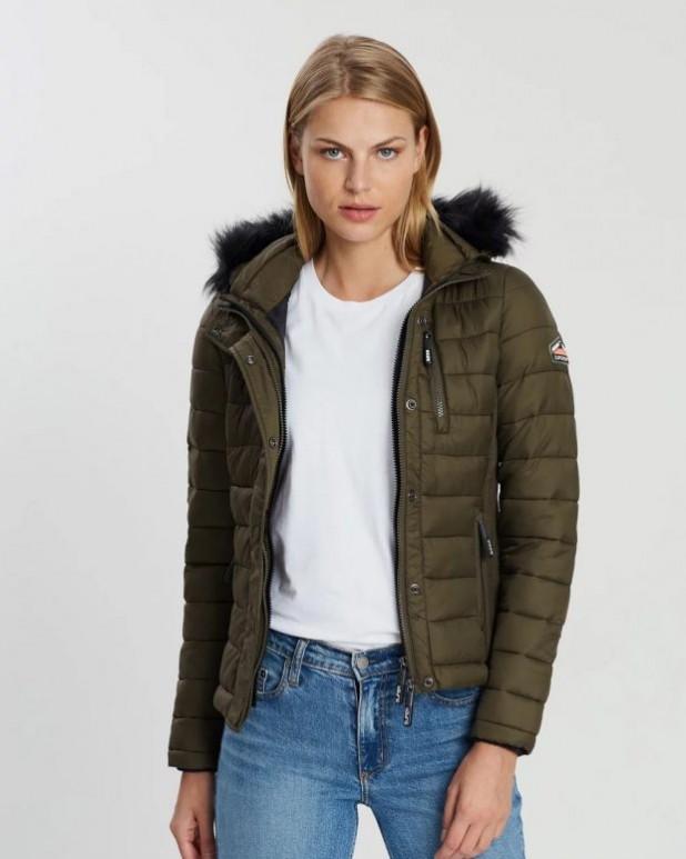 женские куртки осень зима: пуховик короткий хаки с воротом
