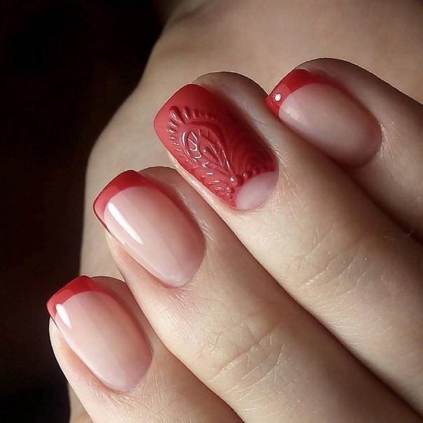 Наращивание ногтей фото новинки 2018 2019 френч красный