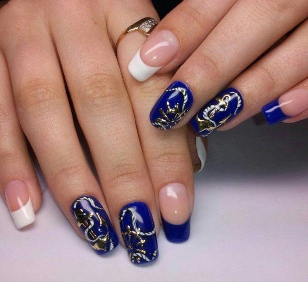 Наращивание ногтей фото новинки 2018 2019 френч синий