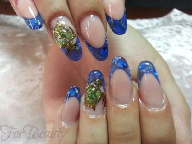 Наращивание ногтей фото модные новинки 2017 френч синий