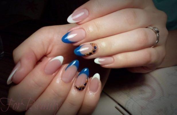 Наращивание ногтей фото новинки 2017 френч синий с белым