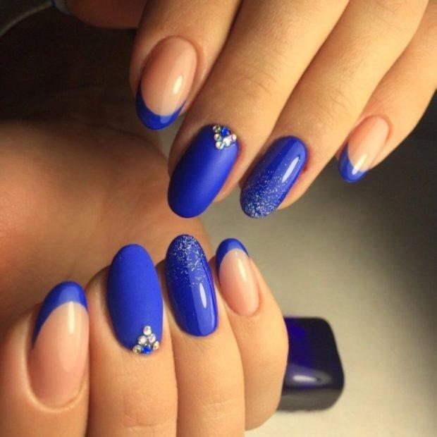 Наращивание ногтей фото новинки 2018 2019 френч синий матовый