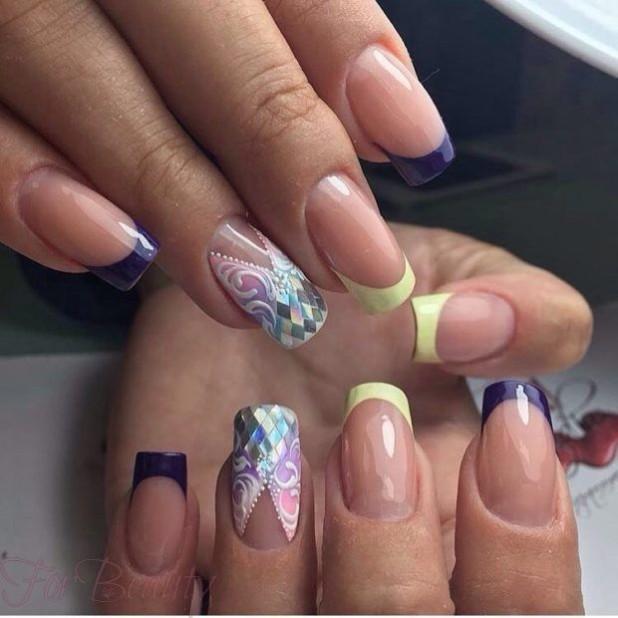 Наращивание гелем ногтей фото новинки 2017 френч синий