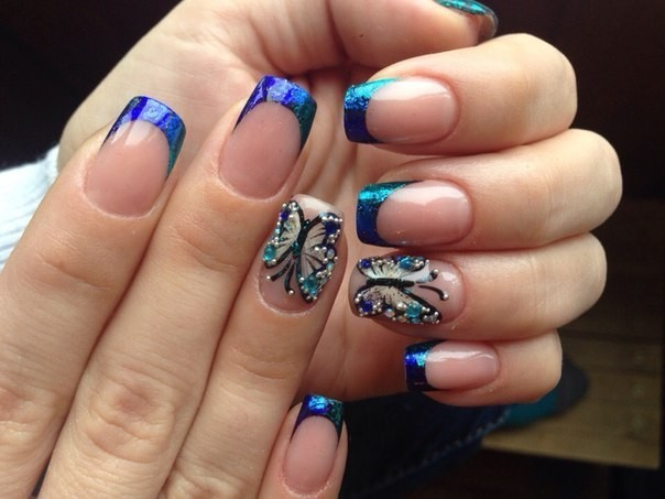 Наращивание ногтей фото новинки 2018 2019 френч синий с принтом