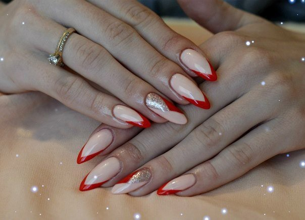 Наращивание ногтей фото 2017 френч красный